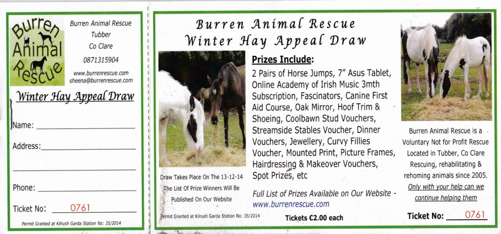 Tickets for our Winter Hay Appeal Draw 2014